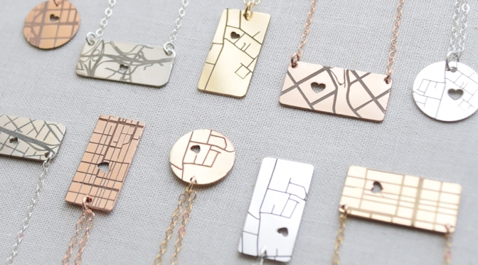 Map necklaces from Olive yew